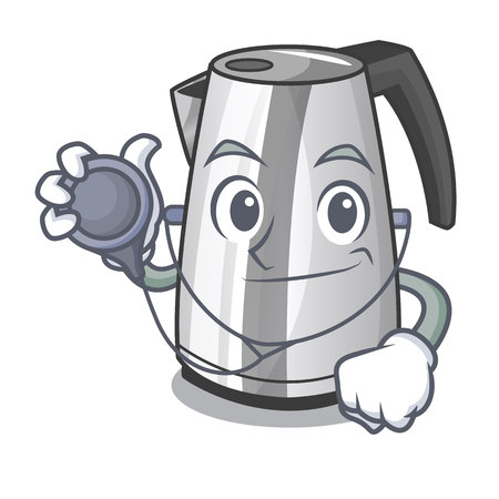 Doctor electric stainless steel kettle on character vector illustration  イラスト・ベクター素材