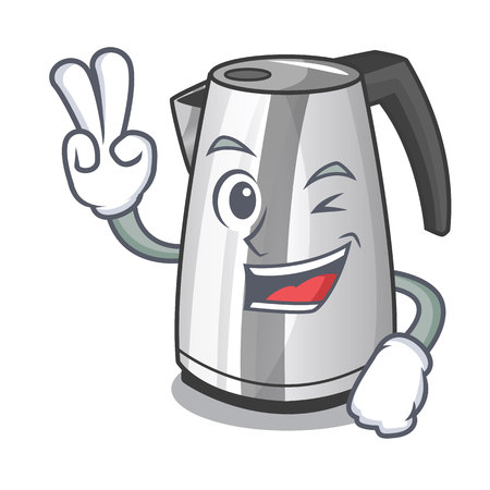 Two finger plastic electric kettle isolated on cartoon vector illustration