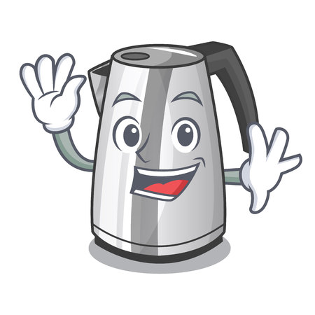 Waving plastic electric kettle isolated on cartoon vector illustration