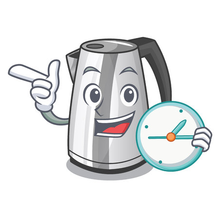 With clock plastic electric kettle isolated on cartoon vector illustration