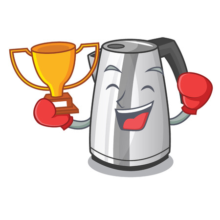 Boxing winner mascot cartoon household kitchen electric kettle vector illustration