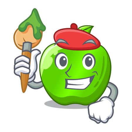 Artist cartoon of big shiny green apple vector illustration Vektorové ilustrace