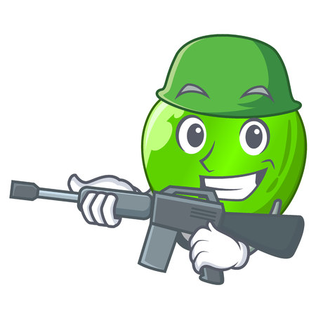 Army cartoon of big shiny green apple vector illustration