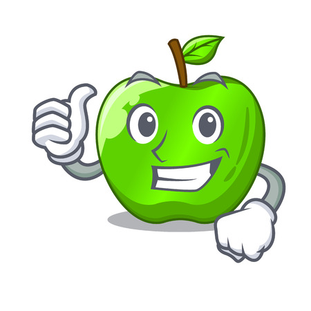 Thumbs up character ripe green apple with leaf vector illustration