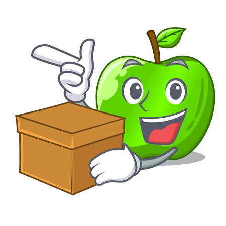 With box character ripe green apple with leaf Illustration