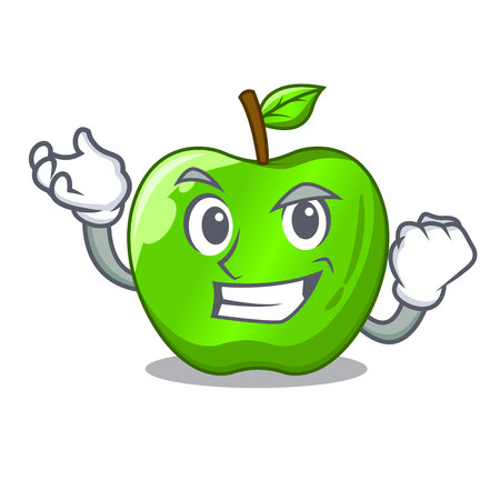 Successful character ripe green apple with leaf vector illustration