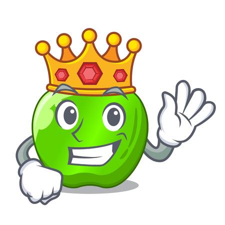 King green smith apple isolated on cartoon vector illustration