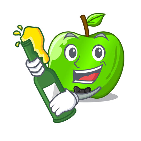 With beer green smith apple isolated on cartoon vector illustration