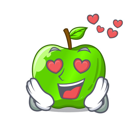 In love perfect fresh green apple on cartoon vector illustration Illustration