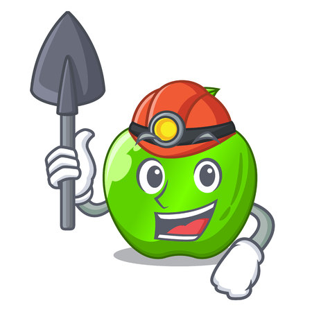 Miner perfect fresh green apple on cartoon vector illustration Illustration