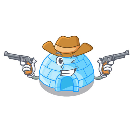 Cowboy character cartoon ice house in snowfield vector illustration Vector Illustration