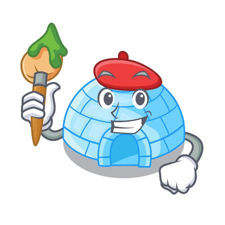 Artist character cartoon ice house in snowfield vector illustration