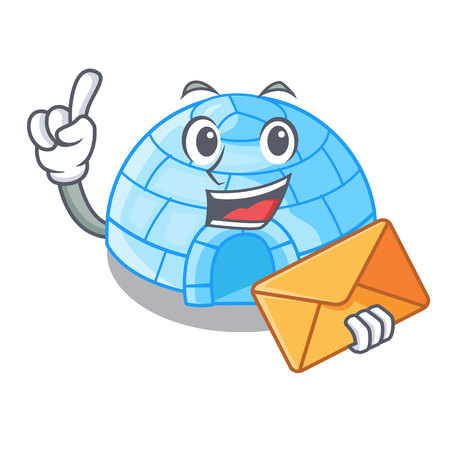 With envelope cartoon dome igloo ice house snow vector illustration