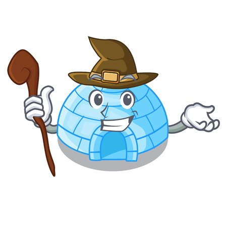 Witch igloo ice house isolated on mascot vector illustration