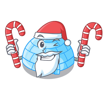 Santa with candy cartoon ice house igloo on snowing day vector illustration Illustration