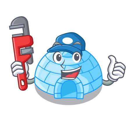 Plumber cartoon ice house igloo on snowing day vector illustration