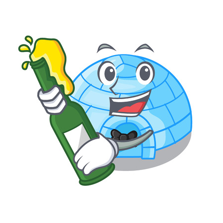 With beer cartoon ice house igloo on snowing day vector illustration