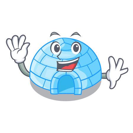 Waving cartoon dome igloo ice house snow vector illustration