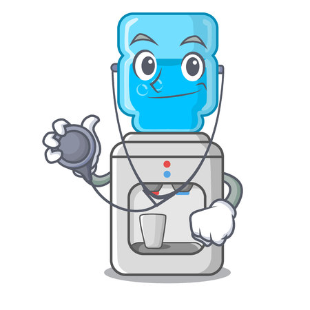 Doctor cartoon water cooler for office and home vector illustration Illustration