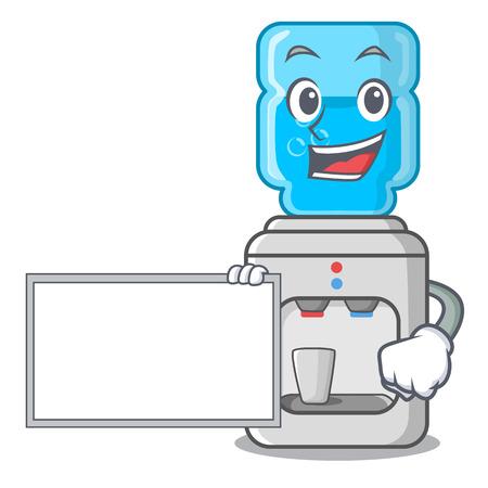 Con enfriador de agua de dibujos animados de tablero para la ilustración de vector de oficina y hogar