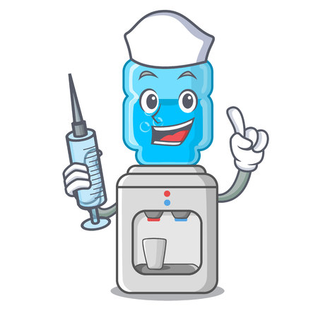 Nurse electric water cooler against the cartoon vector illustration