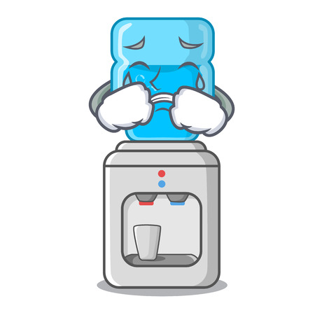 Crying water cooler with plastic bottle cartoon vector illustration