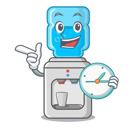 Con enfriador de agua eléctrico de reloj contra la ilustración vectorial de dibujos animados Ilustración de vector