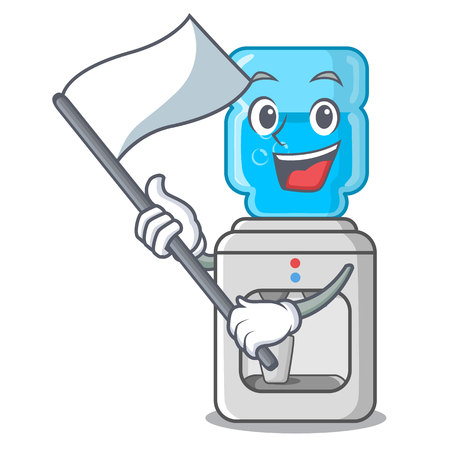 With flag modern water cooler isolated on mascot vector illustration