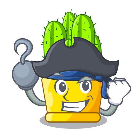 Pirate green cereus cactus on character cartoon