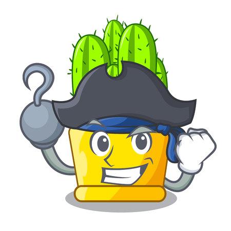 Pirate green cereus cactus on character cartoon