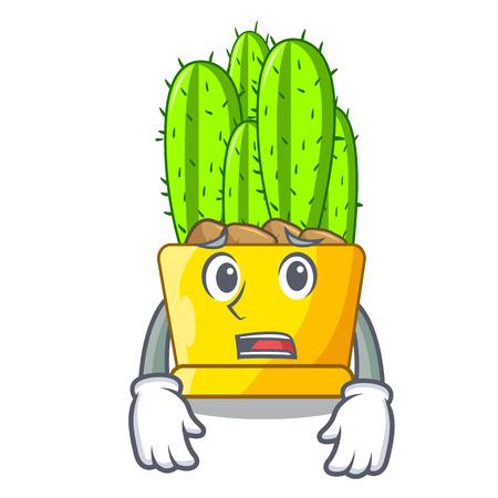 Afraid cereus cactus in a pot cartoon vector illustration