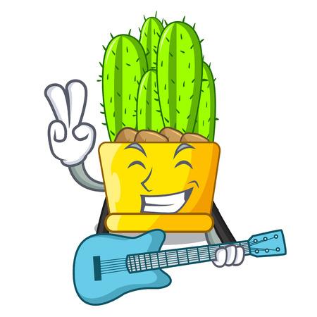 With guitar cereus cactus in a pot cartoon vector illustration Stock Illustratie