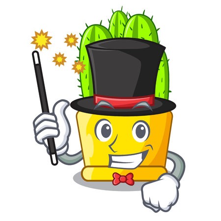 Magician cereus cactus with flower buds cartoon vector illustration