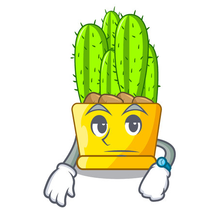 Waiting cereus cactus with flower buds cartoon vector illustration