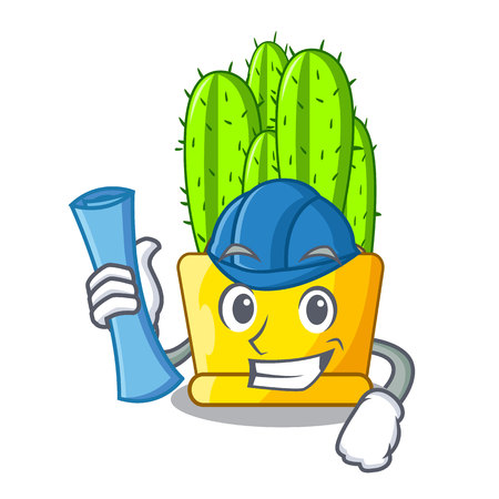 Architect cereus cactus bouquet on character cartoon vector illustration