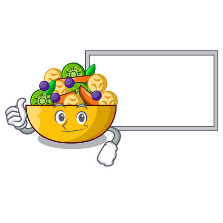 Thumbs up with board fruit salad in glass bowl cartoon vector illustration Ilustrace