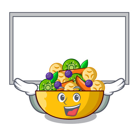 Up board fruit salad in glass bowl cartoon vector illustration