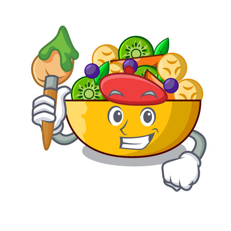 Artist fruit salad in glass bowl cartoon vector illustration