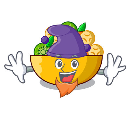Elf fruit salad in glass bowl cartoon vector illustration