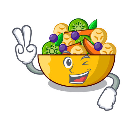 Two finger cartoon bowl healthy fresh fruit salad vector illustration