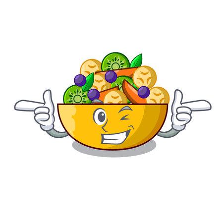 Wink cartoon bowl healthy fresh fruit salad vector illustration Ilustrace