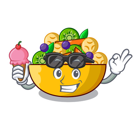 With ice cream cartoon bowl healthy fresh fruit salad vector illustration