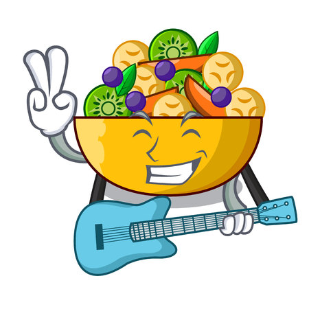 With guitar mascot diet fresh tasty fruit salad vector illustration