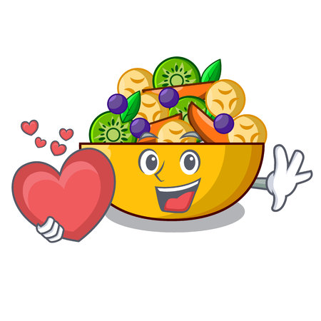 With heart mascot diet fresh tasty fruit salad vector illustration