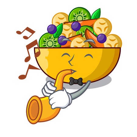 With trumpet mascot diet fresh tasty fruit salad vector illustration Ilustração