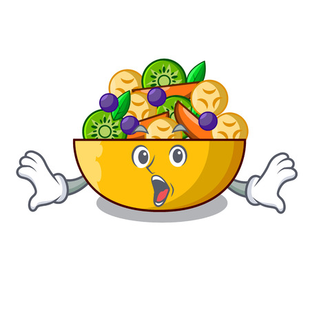 Surprised mascot diet fresh tasty fruit salad vector illustration