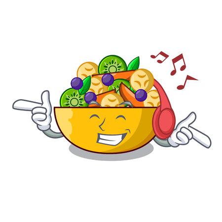 Listening music mascot diet fresh tasty fruit salad vector illustration