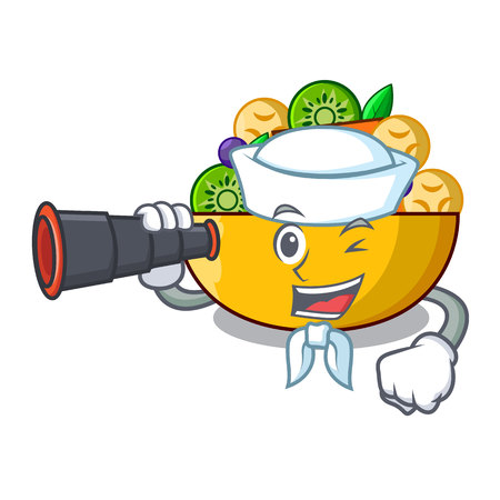 Sailor with binocular mascot diet fresh tasty fruit salad vector illustration