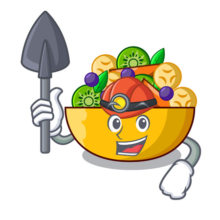 Miner mascot diet fresh tasty fruit salad vector illustration