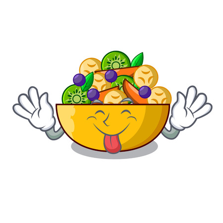 Tongue out dessert of fruits salad on cartoon vector illustration
